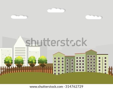 Modern Green City, Think Green Concept. Autumn Theme. - stock vector