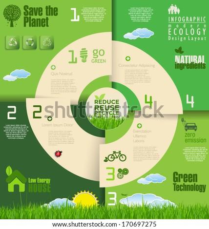 Modern green ecology background - stock vector