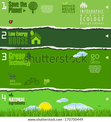 Modern green ecology background, torn paper - stock vector