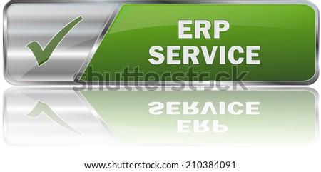 modern green erp service sign - stock vector