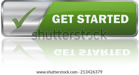 modern green get started label sign - stock vector