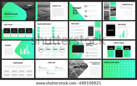 modern green gradient presentation template you stock vector, Presentation templates