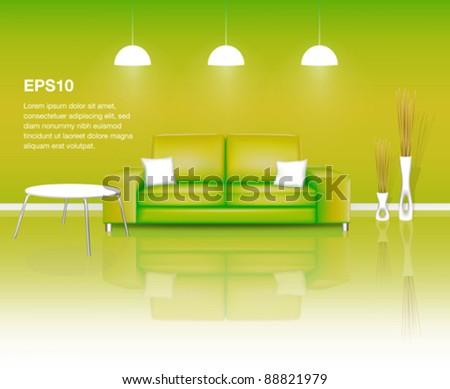 Modern Green Living Space (EPS10) - stock vector