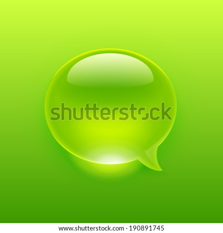 Modern green message bubble of a drop style. Vector illustration - stock vector