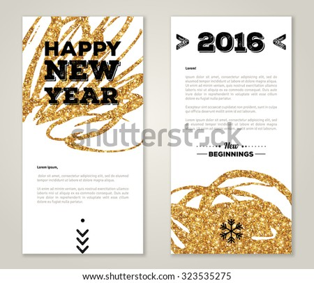 Modern Greeting Card Design with Golden Paint Stains and Typographic Design. Vector Illustration. Gold Brush Stroke. Happy New Year 2016 Poster Invitation Template.  - stock vector
