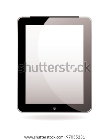 Modern hand held computer tablet computer with white screen - stock vector