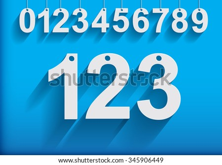 Modern Hanging Numbers with Long Shadows.Vector Illustration.  - stock vector