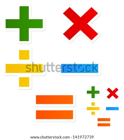 Modern, happy Mathematical symbols - stock vector