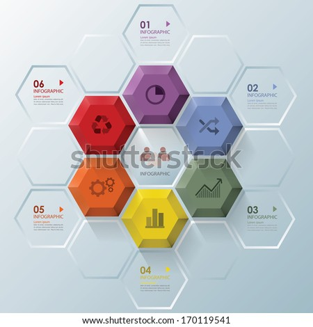 Modern Hexagon Business Infographic Design Template - stock vector