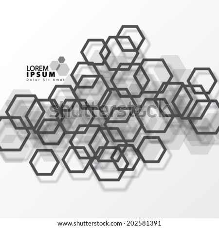 Modern Hexagon Design with Ring Like Shadow Background - stock vector