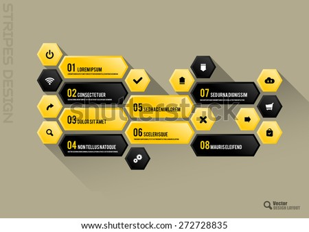 Modern hexagon layout with black and yellow vector buttons. - stock vector
