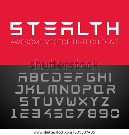 Modern Hi-Tech Font. Vector Techno Alphabet.