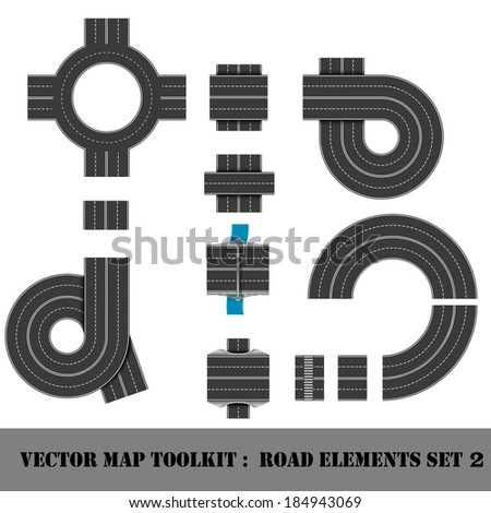 Modern Highway Map Toolkit. Top View Position. Connectible Road - stock vector