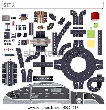 Modern Highway Map Toolkit. Top View Position. Pack Include: Connectible Road Elements, Bridge, Building, Cars and  Markers. Design Vector Clip Art