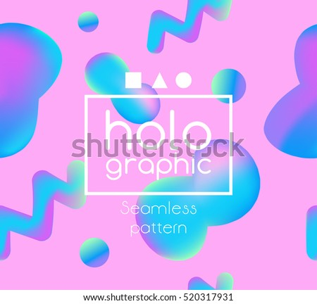 Modern Holographic Neon Bright Pattern On Stock Photo (Photo, Vector ...