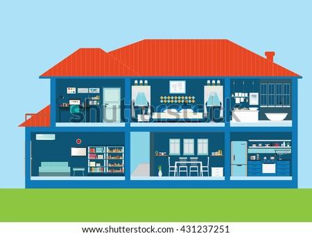 Modern Home Design Exterior Interior Room Stock Vector 431237251 ...