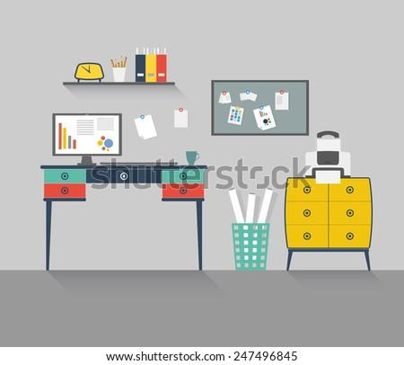 Modern home office interior. Flat design illustration. For infographic, web site, cartoon, poster, presentation.  - stock vector