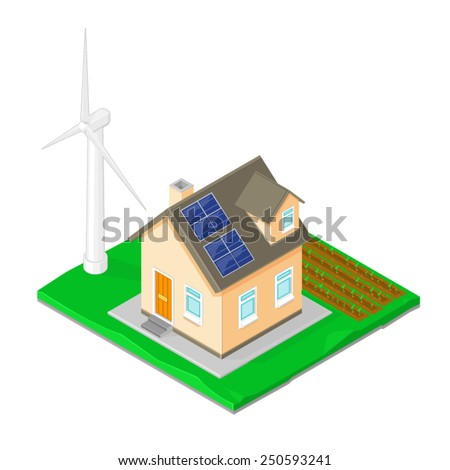 Modern home with ECO friendly turbine, solar power and growing crops. ECO Friendly Home. Self Sufficiently ECO Friendly Home.  - stock vector