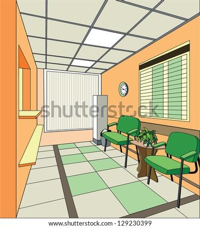 Modern hospital interior - stock vector