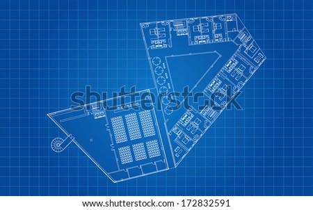 Modern Hotel Floor Architectural Plan Blueprint - stock vector