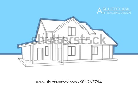 architectural drawings of modern houses.  Modern Modern House Building Vector Architectural Drawings 3d Illustration And Drawings Of Houses E