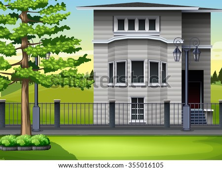 Modern house by the park illustration