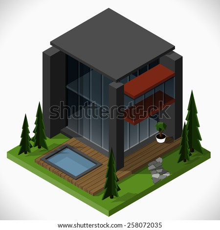 Modern house in a loft style  with a lawn and a swimming pool. Vector isometric illustration. - stock vector