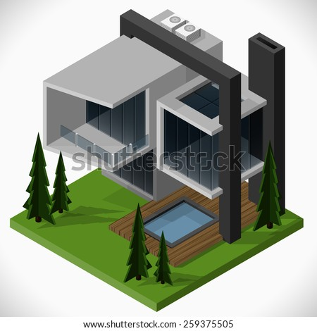 Modern house of glass and concrete in a loft style  with a lawn and a swimming pool. Vector isometric illustration. - stock vector