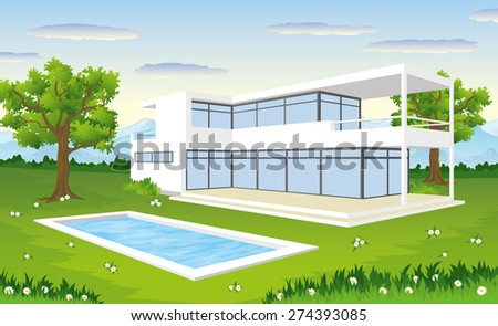 modern house with pool - stock vector