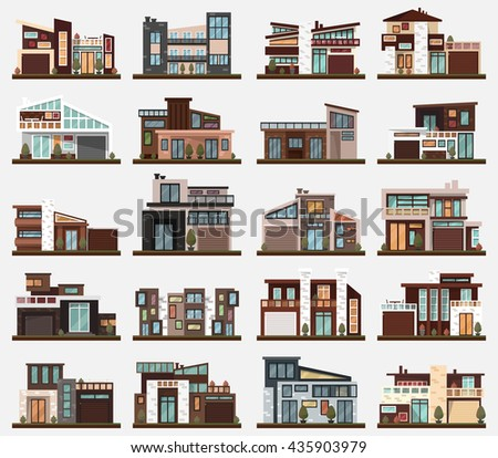Modern houses or buildings, estate or mansion, family home or dwelling with backyard , manor or habitation, abode or private cottage exterior with garage and bushes or trees, clean pavement - stock vector