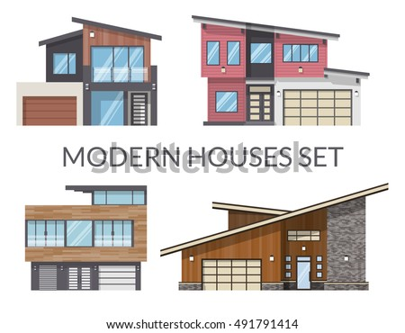 modern houses set real estate signs in flat style vector illustration - Modern Houses Photos