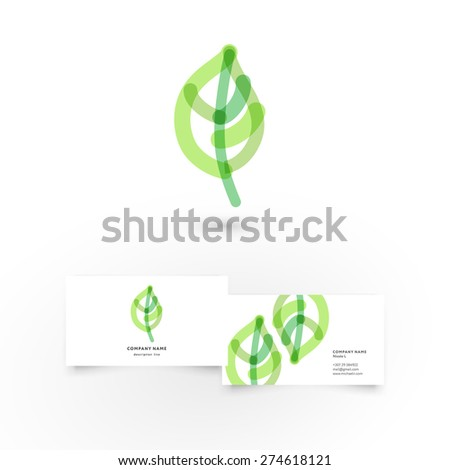 Modern icon design leaf heart shape logo element with business card template. Best for identity and logotypes. - stock vector