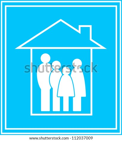 modern icon with big family and private house silhouette - stock vector