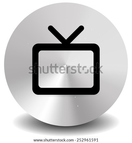Modern icon with television symbol with antenna. Vector Element for Home entertainment, TV channel, TV show, tube, motion picture, broadcasting concepts. - stock vector