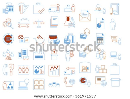Modern icons set of corporate management and business leader training. Premium quality outline symbol collection pack. Stroke vector logo concept,web graphics. vector illustration - stock vector
