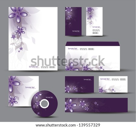 Modern Identity Package. Vector Design. Floral Theme. - stock vector