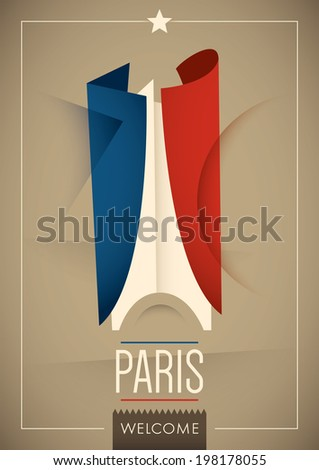 Modern illustrated Paris poster. Vector illustration. - stock vector