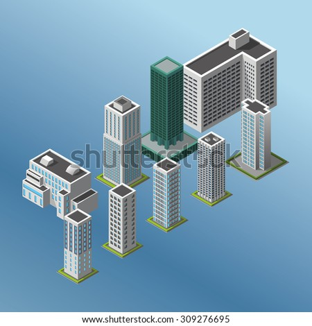 Modern illustration of an Isometric Buildings set. 3d building icon.