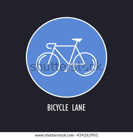 Modern Illustration of Bicycles Only Road Sign. White outline bike in a blue round isolated on a dark background. Design Element, logo or sticker made in trendy thin line style vector. - stock vector