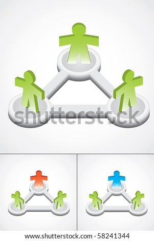Modern illustration of group with three 3d people, different color versions