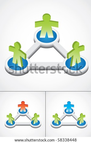 Modern illustration of group with three 3d people, different color versions - stock vector
