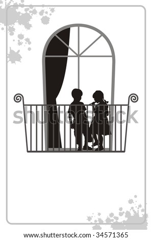 Modern illustration with silhouettes of children. On a balcony there is a boy and the girl. Behind them the window with a curtain is located. - stock vector