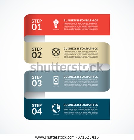 Modern infographic design template. Can be used for web, diagram, graphic layout, chart, etc. Vector banner with 4 steps, parts, options - stock vector