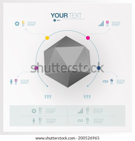 Modern infographic design with 3D origami object used for workflow layout, chart, number options, presentation, web design. Eps 10 stock vector illustration - stock vector