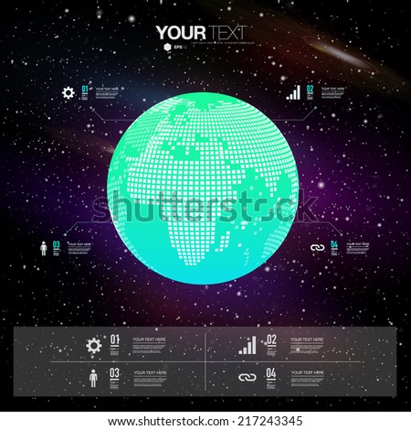 Modern infographic design with 3D world map and sky with stars background  can be used for workflow layout, chart, number options, presentation, web design.  Eps 10 stock vector illustration  - stock vector
