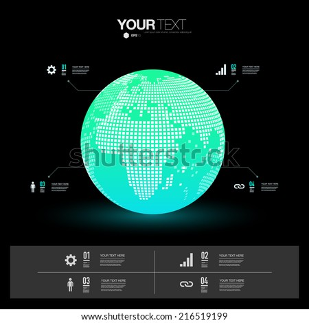Modern infographic design with 3D world map can be used for workflow layout, chart, number options, presentation, web design. Eps 10 stock vector illustration  - stock vector