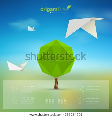 Modern infographic design with origami tree and birds can be used for workflow layout, chart, number options, presentation, web design. Eps 10 stock vector illustration  - stock vector
