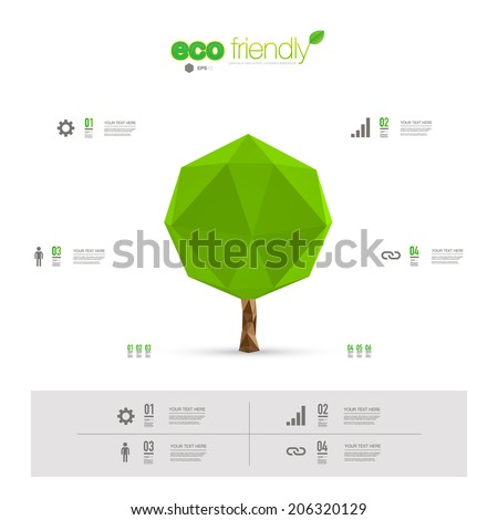 Modern infographic design with origami tree can be used for workflow layout, chart, number options, presentation, web design. Eps 10 stock vector illustration  - stock vector