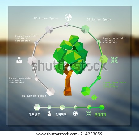 Modern infographic design with origami tree. vector illustration - stock vector