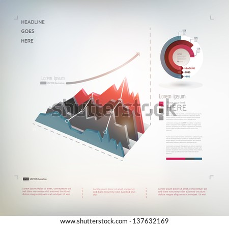 Modern infographic elements on light background. Business graph. Vector illustration/eps 10. - stock vector